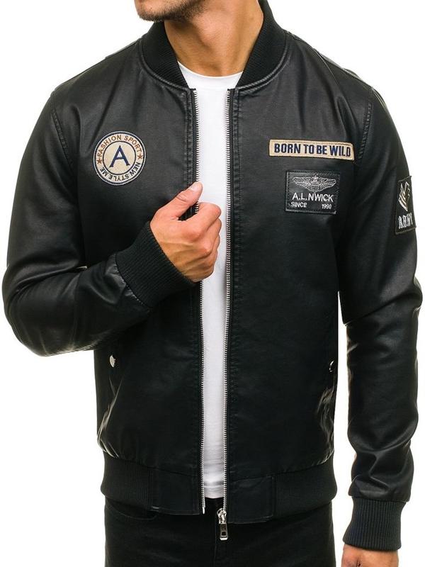 Černá pánská kožená bunda bomber z ekokůže Bolf 72166