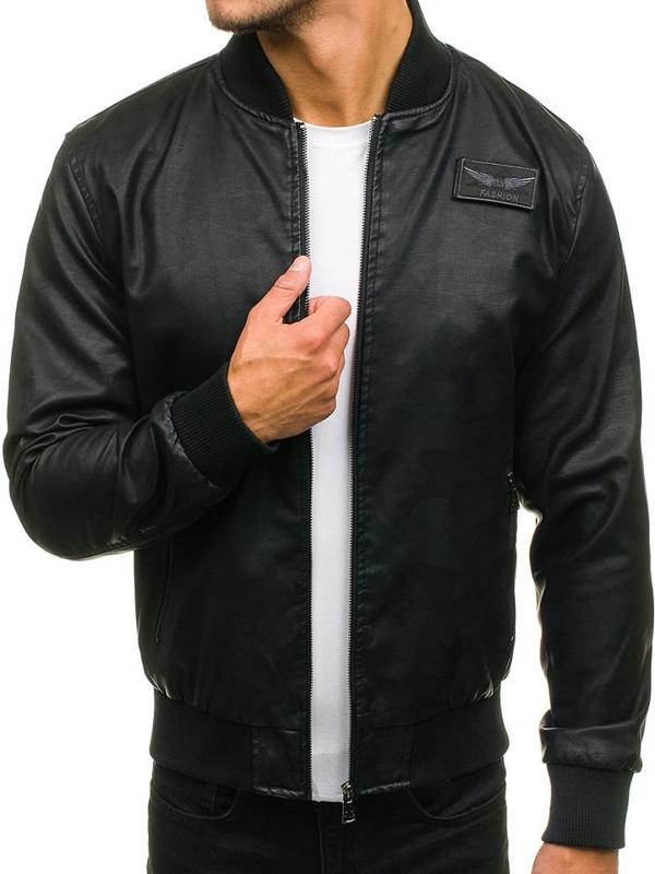 Černá pánská kožená bunda z ekokůže Bolf 4816