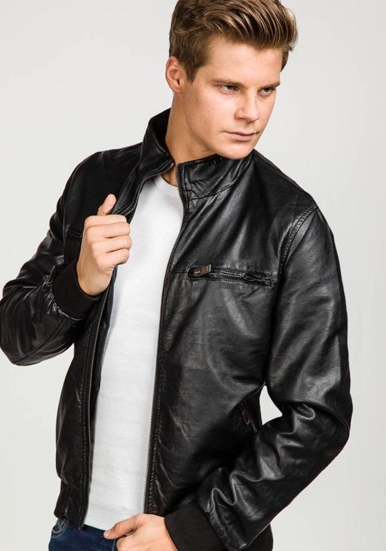 Černá pánská kožená bunda z ekokůže Bolf 8005