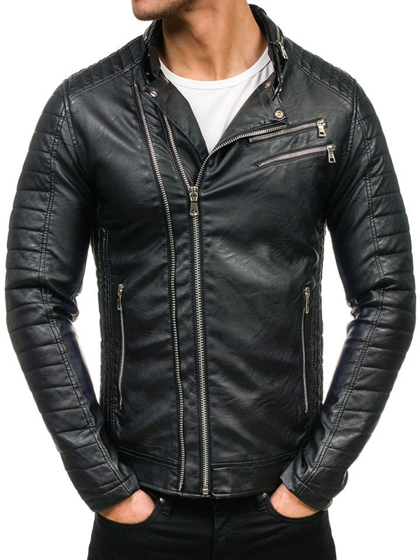 Černá pánská kožená bunda z ekokůže Bolf 9135
