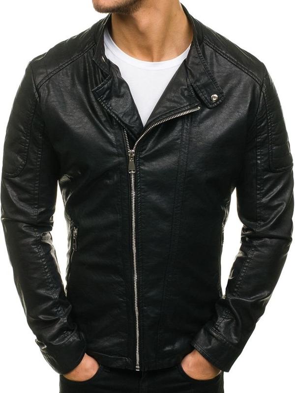 Černá pánská kožená bunda z ekokůže Bolf D003