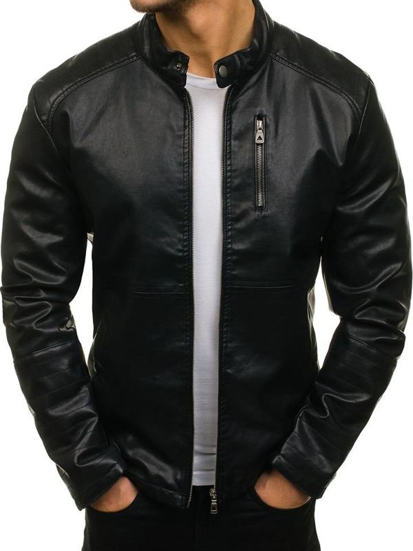 Černá pánská koženková bunda Bolf 5009