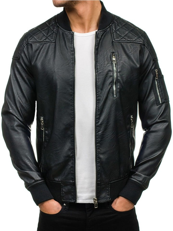 Černá pánská koženková bunda Bolf 9156