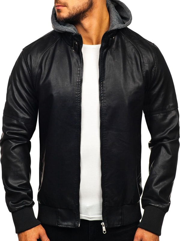 Černá pánská koženková bunda Bolf 92524