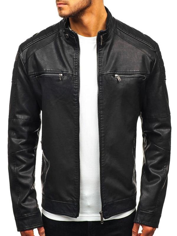 Černá pánská koženková bunda Bolf EX912