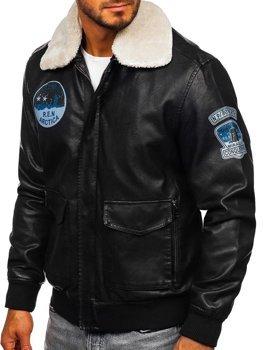 Černá pánská koženková letecká bunda Bolf 4794