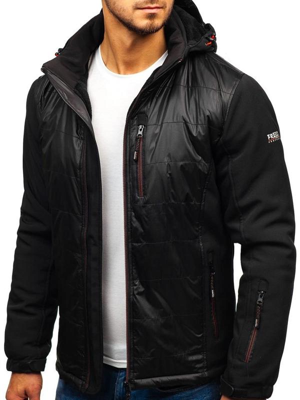 Černá pánská softshellová černo-červená bunda Bolf 5633