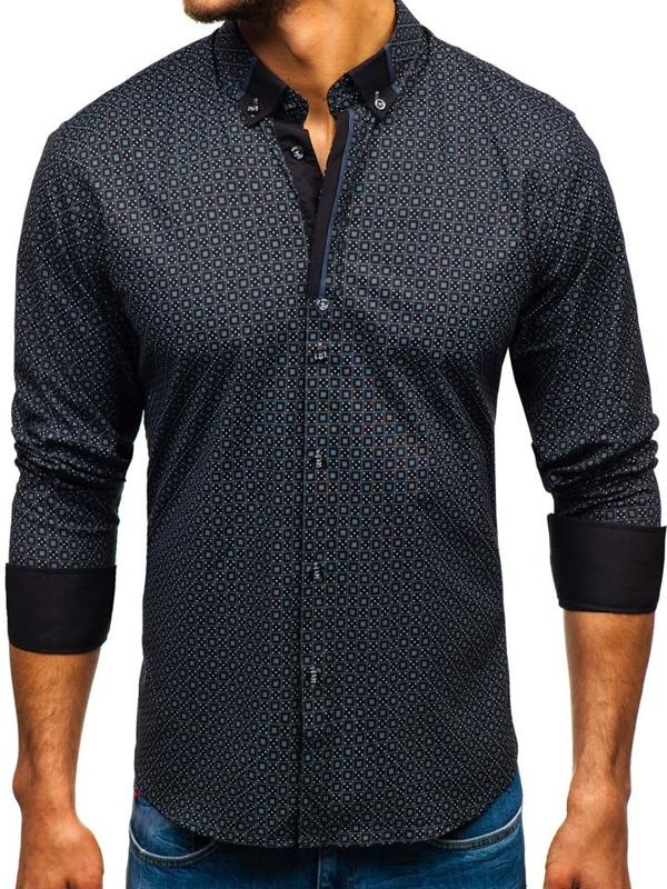 Černá pánská vzorovaná košile s dlouhým rukávem Bolf 8844E