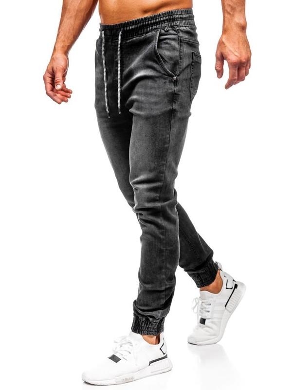 Černé pánské džínové jogger kalhoty Bolf KA1073