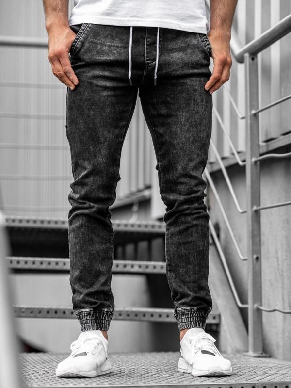 Černé pánské džínové jogger kalhoty Bolf KA1077