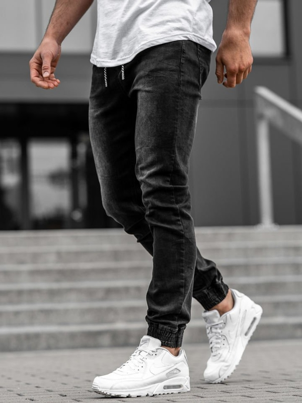 Černé pánské džínové jogger kalhoty Bolf KA1096