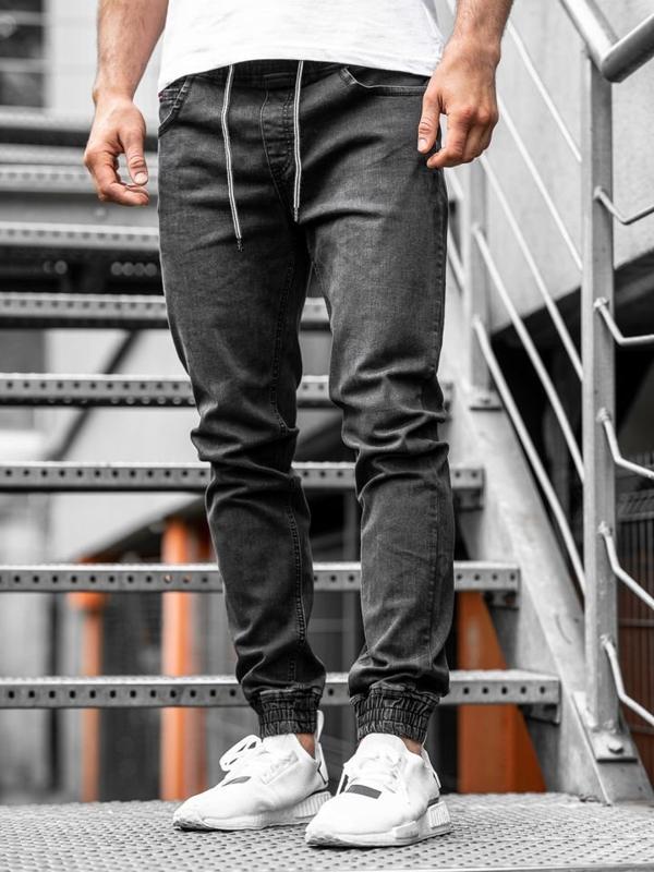 Černé pánské džínové jogger kalhoty Bolf KA1101