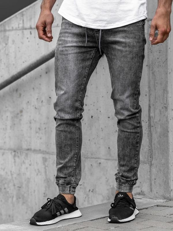 Černé pánské džínové jogger kalhoty Bolf KA1208