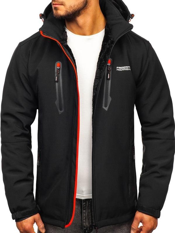 Černo-červená pánská softshellová vyteplená bunda Bolf BK061