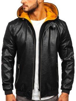 Černo-žlutá pánská koženková bunda s kapucí Bolf 6132