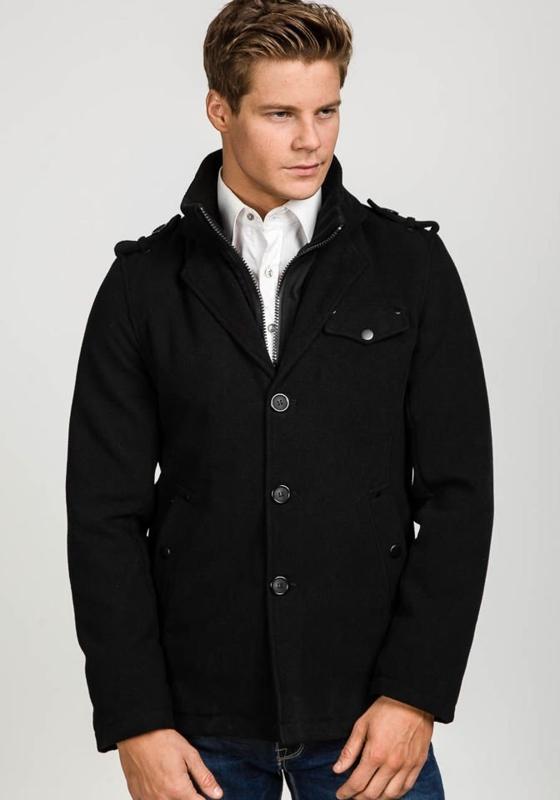 Černý pánský zimní kabát Bolf 1690