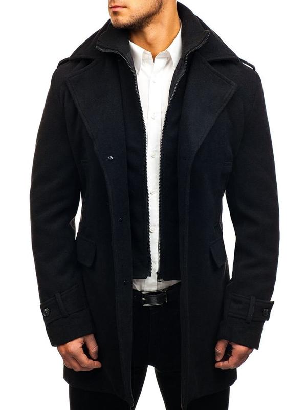 Černý pánský zimní kabát Bolf 1808-A