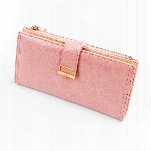 Dámská růžová koženková peněženka 1037