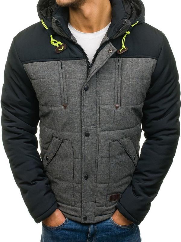 Grafitová pánská zimní bunda Bolf TC609