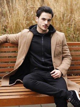 Kamelový pánský zimní kabát Bolf 1047B