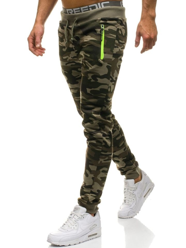 Maskáčovo-zelené pánské jogger tepláky Bolf JX8125