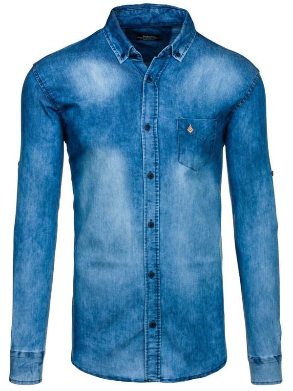 Modrá pánská džínová košile s dlouhým rukávem Bolf 0493-1