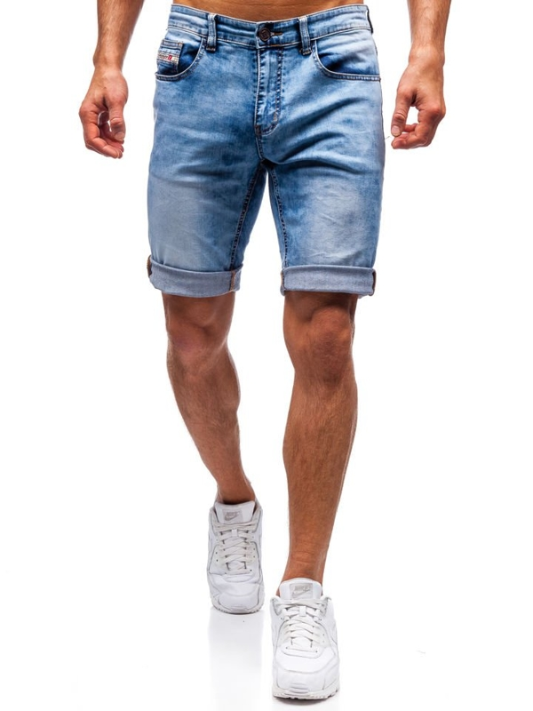 Modré pánské džínové kraťasy Bolf 7805