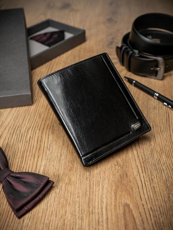 Pánská černá kožená peněženka 238