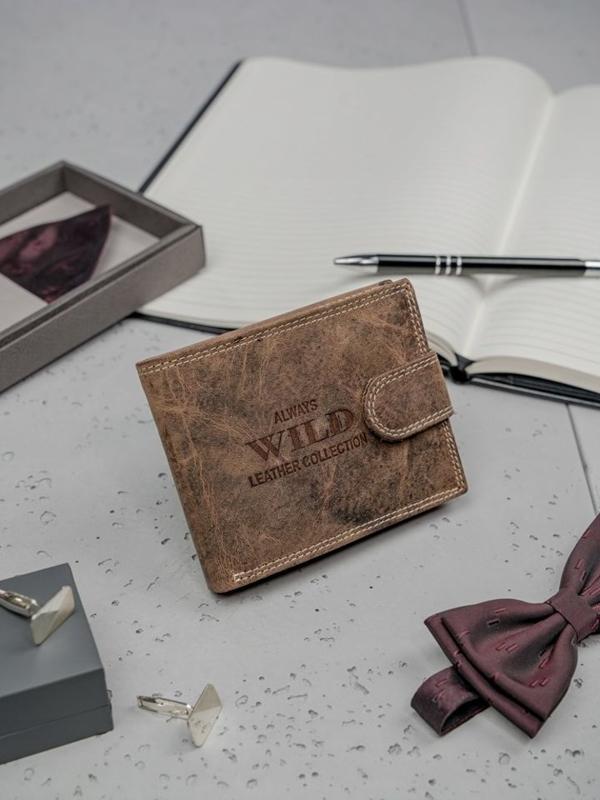 Pánská hnědá kožená peněženka 3200