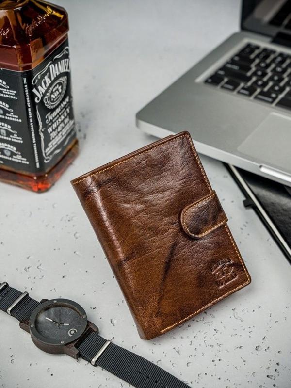 Pánská hnědá kožená peněženka 3207