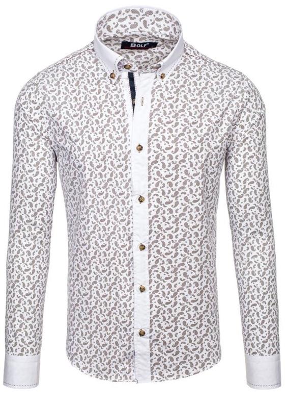 Pánská hnědá vzorovaná košile s dlouhým rukávem Bolf 6926