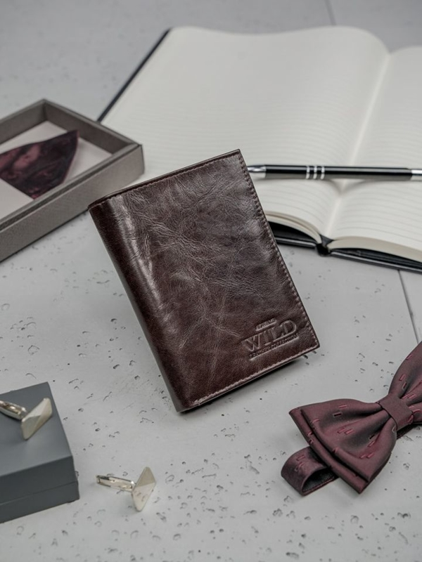 Pánská tmavě hnědá kožená peněženka 3194