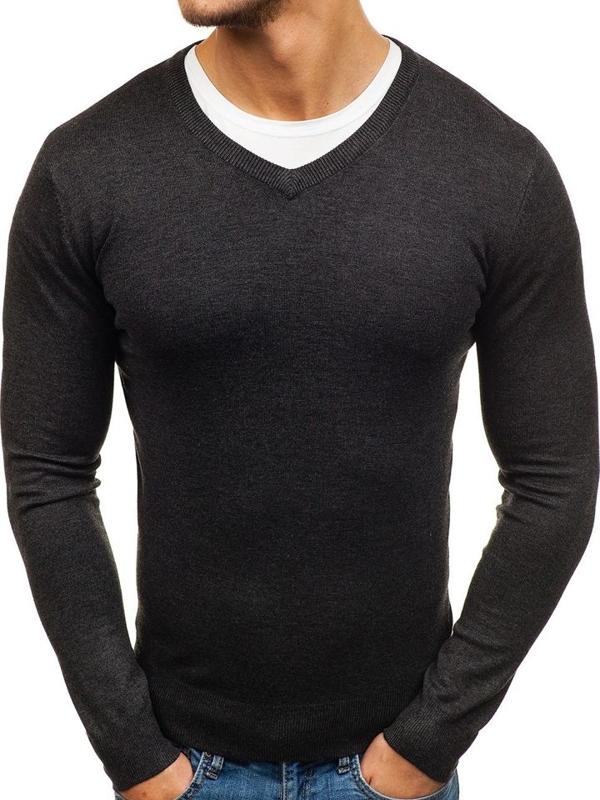 Pánský antracitový svetr s výstřihem do V Bolf 003