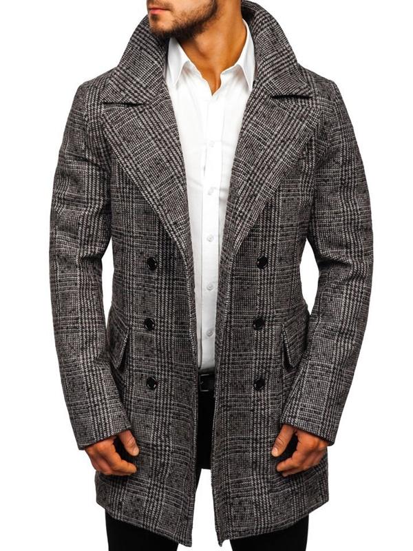 Šedý pánský zimní kabát Bolf 1118