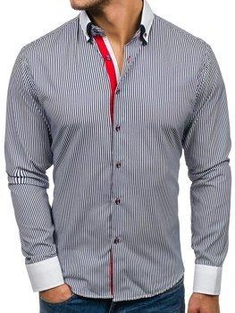 Tmavě modrá pánská elegantní pruhovaná košile s dlouhým rukávem Bolf 2790