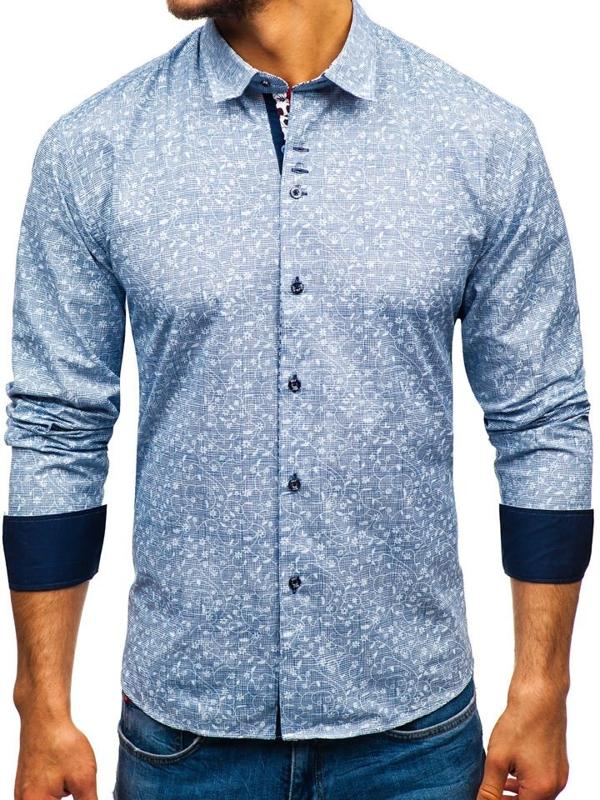 Tmavě modrá pánská vzorovaná košile s dlouhým rukávem Bolf 9701
