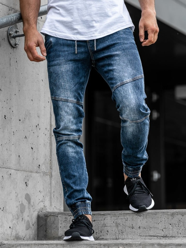 Tmavě modré pánské džínové jogger kalhoty Bolf KA673
