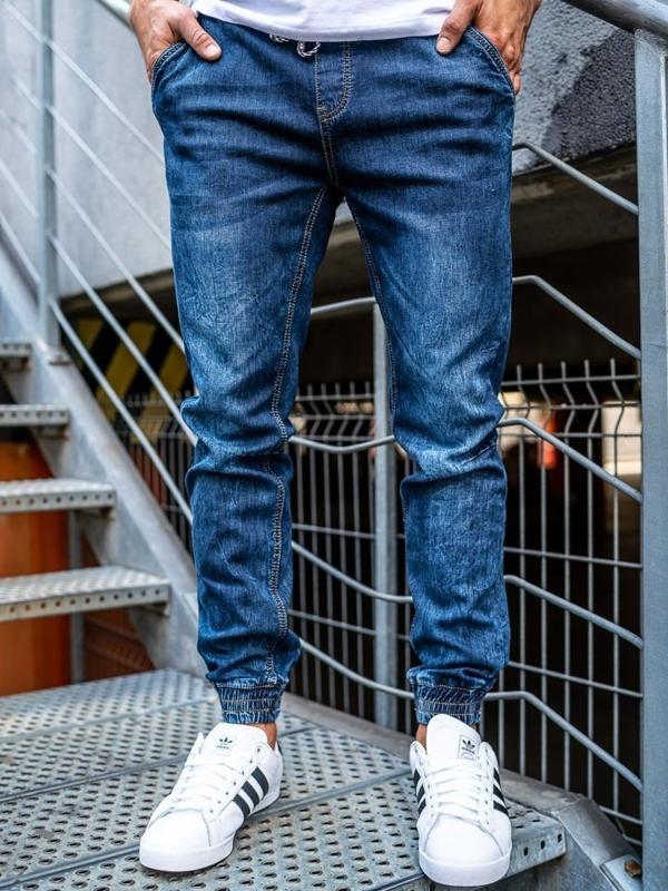 Tmavě modré pánské džínové jogger kalhoty Bolf KA675