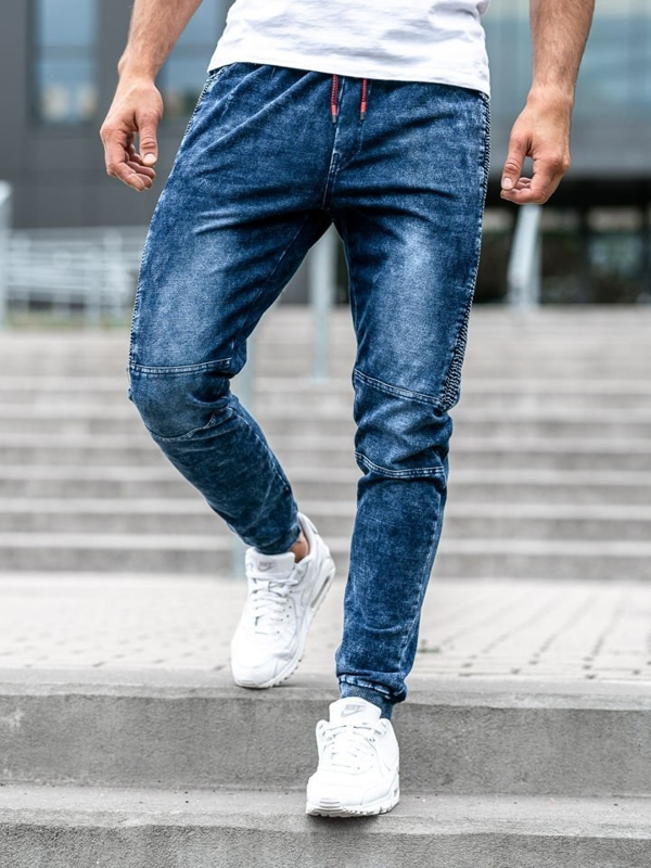 Tmavě modré pánské džínové jogger kalhoty Bolf KK1021