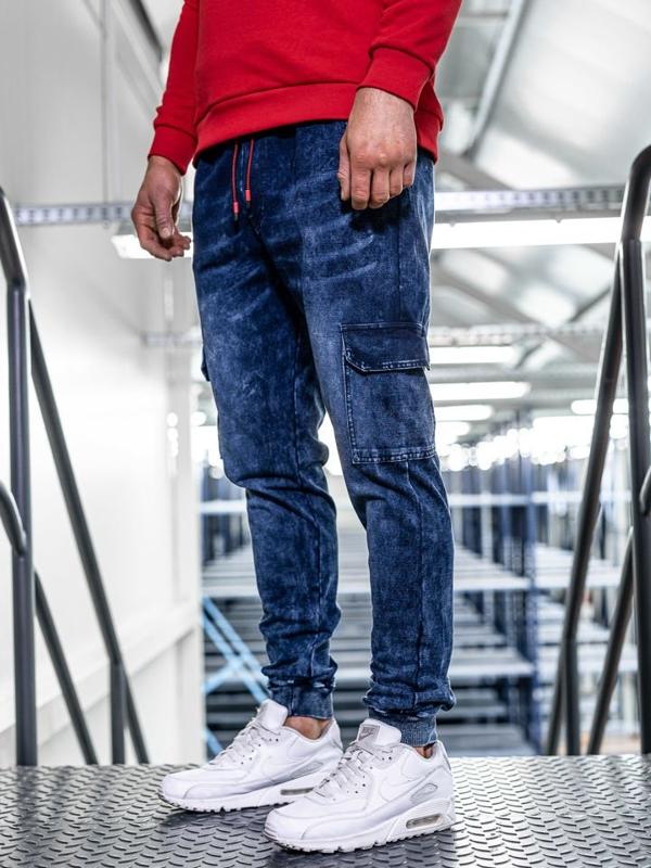 Tmavě modré pánské džínové jogger kalhoty Bolf KK1033