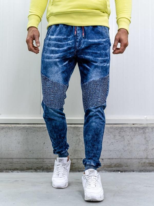 Tmavě modré pánské džínové jogger kalhoty Bolf KK1035