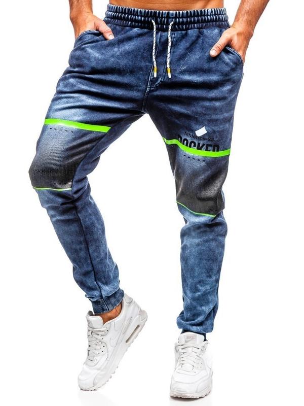 Tmavě modré pánské džínové jogger kalhoty Bolf KK1059