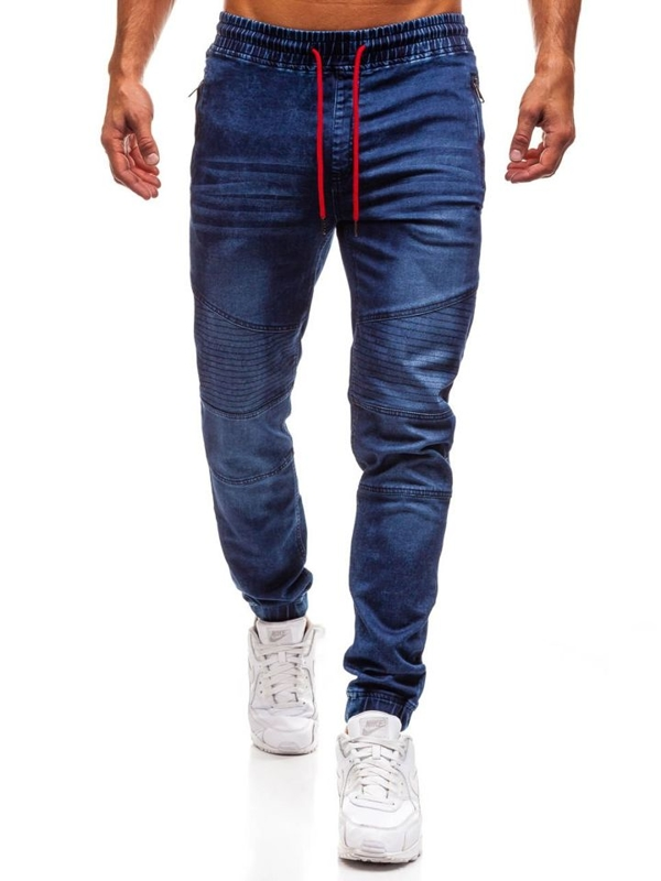 Tmavě modré pánské džínové jogger kalhoty Bolf Y258