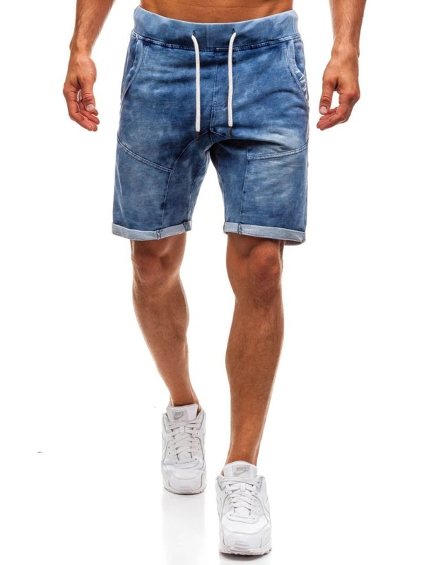 Tmavě modré pánské džínové kraťasy Bolf EX01