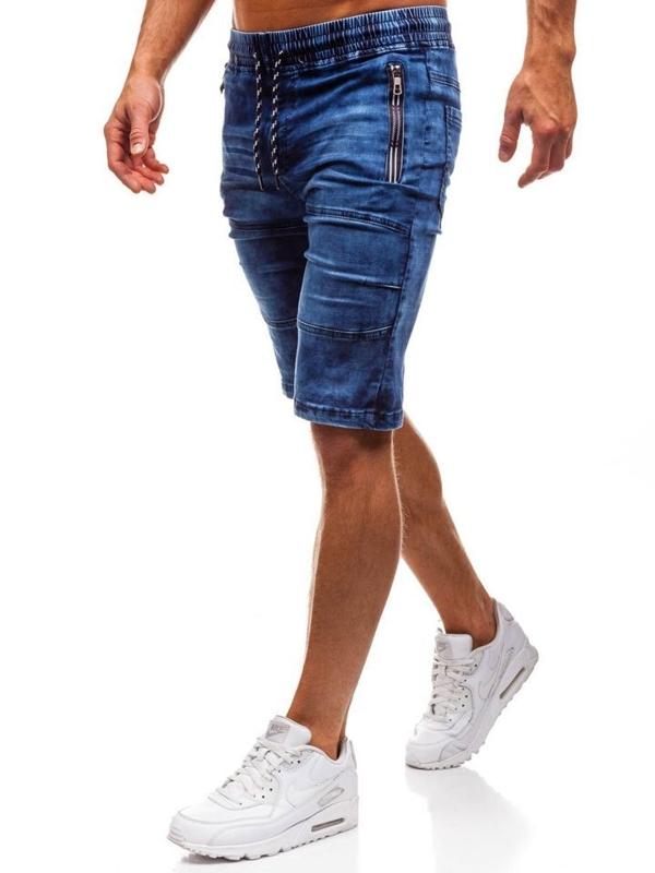 Tmavě modré pánské džínové kraťasy Bolf HY186
