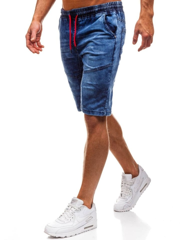 Tmavě modré pánské džínové kraťasy Bolf HY243