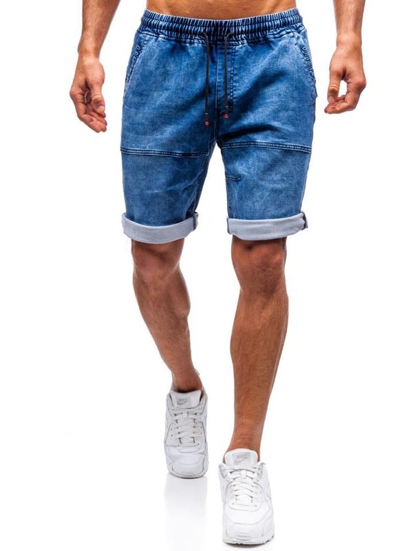 Tmavě modré pánské džínové kraťasy Bolf HY335