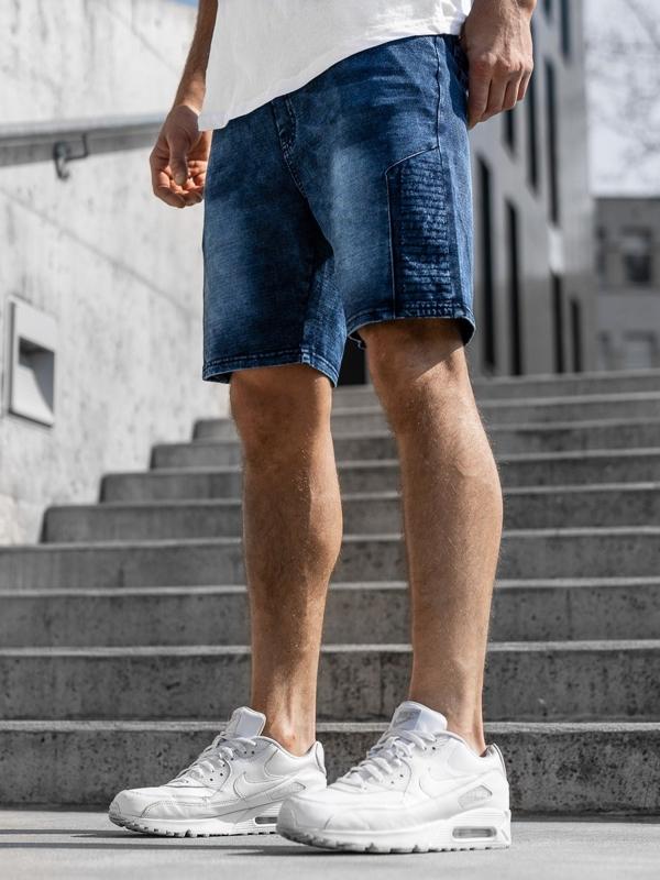 Tmavě modré pánské džínové kraťasy Bolf KK110