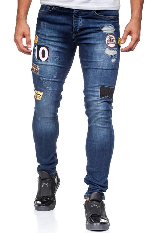 Tmavě modré pánské džíny skinny fit Bolf 298