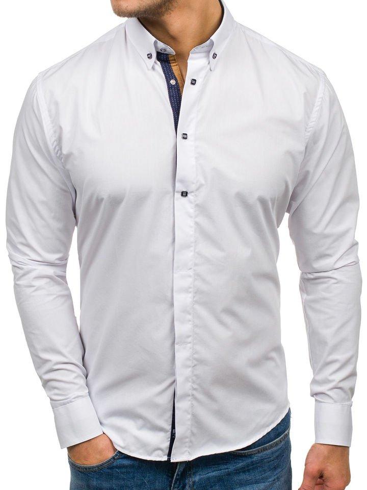 Bílá pánská elegantní košile s dlouhým rukávem Bolf 7727 d601acb903
